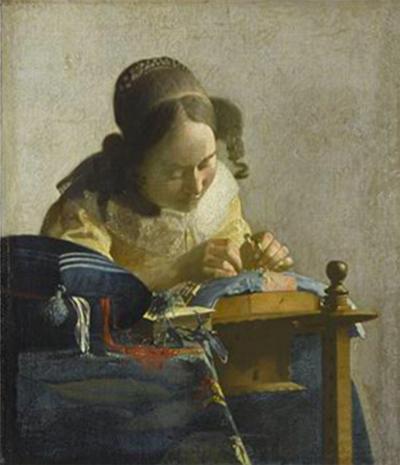 Johannes Vermeer, La Dentellière, vers 1669-1670. Paris, musée du Louvre, département des Peintures © RMN-Grand Palais (musée du Louvre) / Gérard Blot