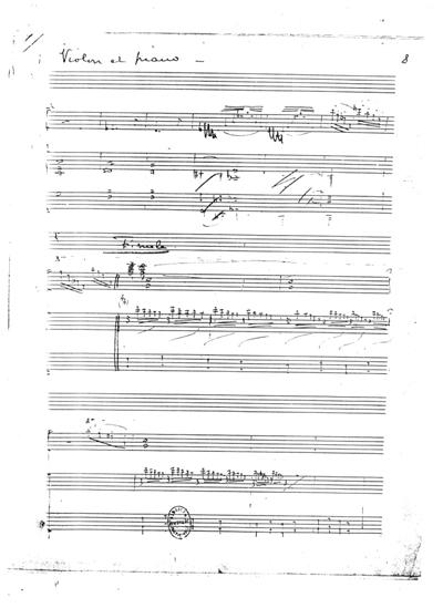 《ヴァイオリン・ソナタ》の初期スケッチ
